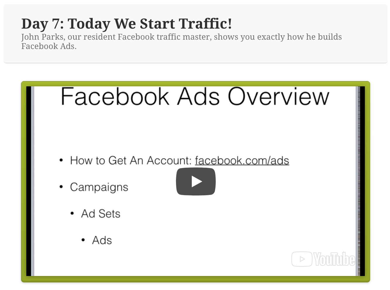 affiliate bootcamp facebook ads